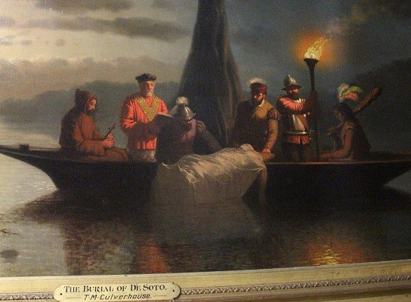 Johann Mongels Culverhouse (Dutch), The Burial of De Soto, 1860, oil on canvas.