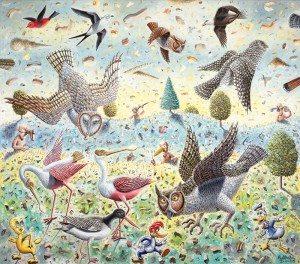 Beak Morphology, oil painting on canvas by artist Morgan Bulkeley
