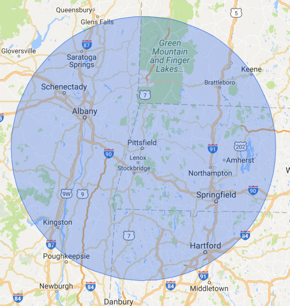 60-mile radius map with Pittsfield at the center