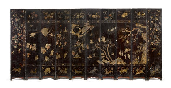 A Ten-Panel Coromandel 'Birthday' Screen, Qing Dynasty, Kangxi Period, Dated Jisi Year, Corresponding to 1689