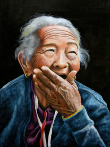Oil panting by Robert Markey of elderly woman with grey hair and wrinkled skinlaughing